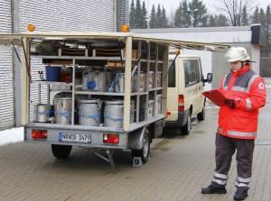 Unser Ausrüstungsanhänger mit Material für die Betreuung von bis zu 200 Personen.